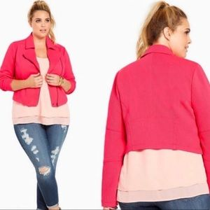Torrid Coral Textured Moto Stretch Jacket Size 3X